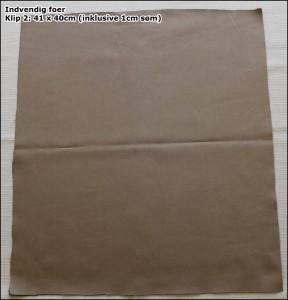 Indvendig foer - Klip 2: 41 x 40cm (inklusive 1cm søm)