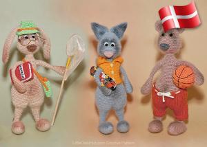 Hækleopskrift fra Little Owls Hut - Hare, Kat og Bjørn