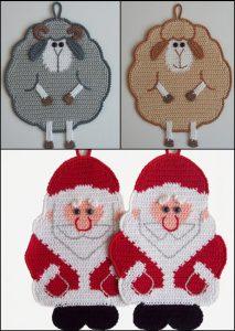 Hæklede grydelapper eller pynt fra Little Owls Hut, Julemand og Får
