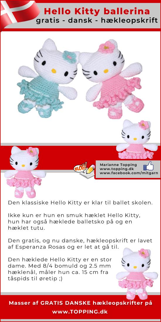 Den hæklede og klassiske Hello Kitty er klar til ballet skolen. Ikke kun er hun en smuk hæklet Hello Kitty, hun har også hæklede balletsko på og en hæklet tutu. Hækleopskriften er GRATIS og på DANSK.
