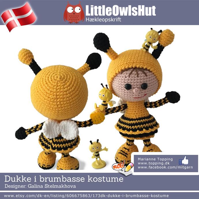 Dukke i brumbasse kostume - Little Owls Hut