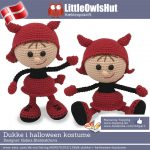 Dukke i Halloween kostume, hækleopskrift fra Little Owls Hut