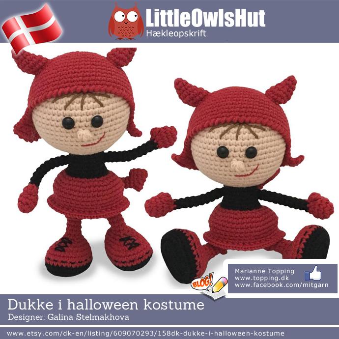 Dukke i halloween kostume - Little Owls Hut