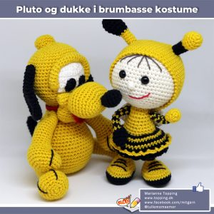 Hæklet Pluto og hæklet dukke med brumbasse kostume