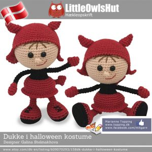 Dukke i halloween kostume - Little Owls Hut