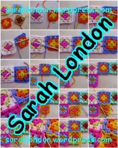 Sarah London - hækl bedstemorl firkanter sammen