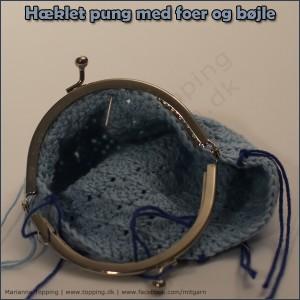 #7 hæklet pung med foer og bøjle - monter bøjlen