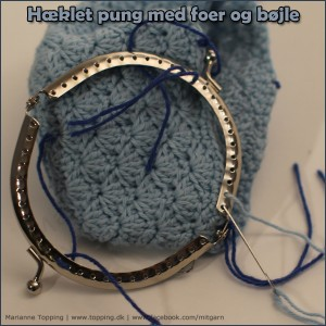 #4 hæklet pung med foer og bøjle - monter bøjlen