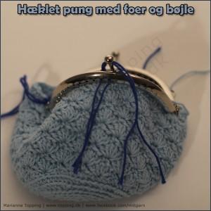 #6 hæklet pung med foer og bøjle - monter bøjlen