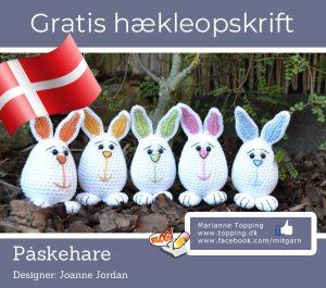 Lille påskehare - dansk gratis hækleopskrift