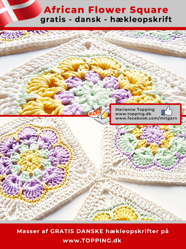 African Flower Square - gratis, dansk hækleopskrift på en smuk bedstemor firkant. Flot til et hæklet tæppe, eller måske en hæklet taske? Prøv hækleopskriften og vis mig hvad du har hæklet.
